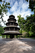 View of the Chinese tower in the English Garden, surrounded by blooming chestnut trees, Muenchen; Bavaria; Germany; Europe