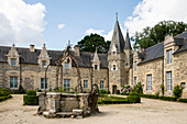 Romantic Rochefort en Terre castle in summer, Morbihan department, Brittany, France, Europe