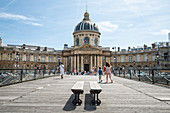 View from the Pont des Arts footbridge to the Institut de France in summer, Paris, France, Europe