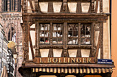 Detail with half-timbered window of half-timbered house with shop L. Bollinger, Strasbourg, Alsace-Champagne-Ardenne-Lorraine, France, Europe