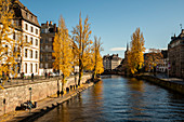 View of canal in La Petite France with autumn trees, Strasbourg, Alsace-Champagne-Ardenne-Lorraine, France, Europe