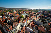View from the tower of the St. Jacobi church to the old town, G? Ttingen, Lower Saxony, Germany, Europe