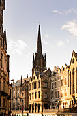 """View of the tower from """"The Hub"""" from Victoria Street, Edinburgh, Scotland, Great Britain, United Kingdom"""