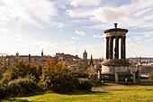 Dugald Stewart Monument on Calton Hill with a view of Edinburgh's Old Town, UNESCO World Heritage Site, Edinburgh, Edinburgh, Scotland, Great Britain, United Kingdom