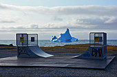 Skater ramp in Qeqertarsuaq on Disko Island, West Greenland; floating icebergs off the coast; Mini skater park for the youth of the place; Leisure fun away from the larger places; upcoming bad weather