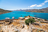 View from south bastion to sea, Spinalonga, island of lepers, Plaka, northeastern Crete, Greece
