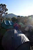 Kilimandscharo, Tansania, Besteigung auf der Machame Route, Zeltlager im Machame Camp, erste Übernachtung, 3000 Meter Höhe, Aufbruch zur nächsten Etappe