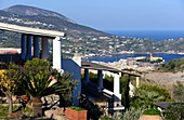 Holiday house by the sea, view of the island's capital, Lipari, Aeolian Islands, southern Italy