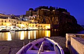 In the evening with small fishing boats at the old port of Lipari, Aeolian Islands, southern Italy