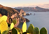 West coast of Lipari with Vulkano island, Aeolian Islands, southern Italy