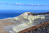 at the crater rim on the volcano with sea, Vulkano Island, Aeolian Islands, southern Italy