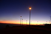 Lanterns, sky, light, sunset on Etna volcano, south side, east coast, Sicily, Italy