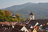 View over the rooftops of Freiburg and the Schwabentor, Freiburg, Breisgau, Southern Black Forest, Black Forest, Baden-Wuerttemberg, Germany, Europe