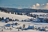 Ibach with Swiss Alps, winter, snow, southern Black Forest, Black Forest, Baden-Wuerttemberg, Germany, Europe