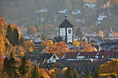 Schwabentor in autumn leaves, Freiburg, Breisgau, Southern Black Forest, Black Forest, Baden-Wuerttemberg, Germany, Europe