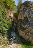 Cyclists in the ravine at Bickensohl, Kaiserstuhl, Breisgau, Baden-W? Rttemberg, Germany, Europe