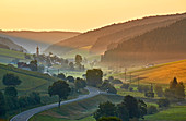 View to Urach in the Urach Valley, summer morning, southern Black Forest, Black Forest, Baden-Wuerttemberg, Germany, Europe
