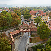 View from the R? Derturm to the old town, Rothenburg ob der Tauber, Romantic Road, Franconia, Bavaria, Germany, Europe