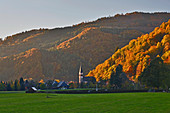 Autumn in Todtnau-Geschwend, sunset, Wiesental, southern Black Forest, Baden-Wuerttemberg, Germany, Europe