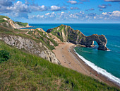 Durdle Door natural limestone arch on the Jurassic Coast near Lulworth in Dorset