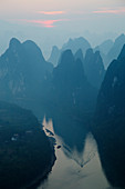 Limestone Karst Formations along River Li at Dawn\nGuilin Region\nGuangxi, China\nLA008299