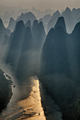 Limestone Karst Formations and River Li at dawn\nGuilin Region\nGuangxi, China\nLA008102\n