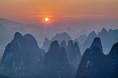 Limestone Karst Formations at Sunrise\nGuilin Region\nGuangxi, China\nLA008074