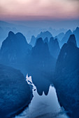 Limestone Karst Formations and River Li at dawn\nGuilin Region\nGuangxi, China\nLA008034