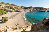 View from the caves on Matala Beach, South Crete, Greece