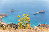 View from pass road on Xerokambos (Mazida Ammos) beach, Crete, Greece