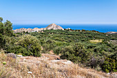 View from mountain pass on Cretan landscape and sea near Máles, east Crete, Greece