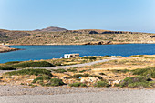Caravan at the lonely Cape Sideros, East Crete, Greece