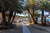Entrance to the famous palm beach of Vai, east Crete, Greece