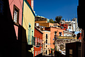 Guanajuato, Mexico - February 3, 2016: A neighborhood with colorful houses in the city of Guanajuato.