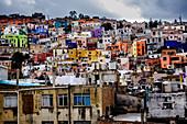 Guanajuato, Mexico - March 3, 2016: Colorful houses in the city of Guanajuato.
