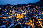 Guanajuato, Mexico - March 29, 2016: Overlooing the city of Guanajuato with the yellow Basilica in the center.