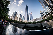 New York, United States of America - July 8, 2017. South Pool of the 9/11 Memorial.