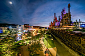 Pennsylvania, United States of America - July 3, 2017: The SteelStacks campus by night. The campus used to be home plant of Bethlehem Steel, which is the second largest steel manufacturer in the states. Nowadays the campus is a gathering place for arts, culture, education and music.