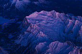 Zugspitze in first light, aerial view, Germany