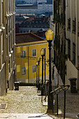 Steep alley in Lisbon, Portugal