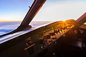 Sunrise in the cockpit of an Airbus