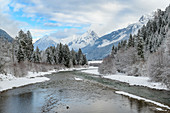 The river Lech in the Lech valley at winter time, Tyrol, Austria