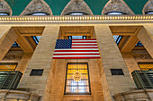 American flag in Grand Central Station, New York City, USA