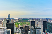 View from Rockefeller Center onto Central Park just before sunset, New York City, USA