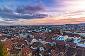 City view from Schlossberg to sunset, Graz, Austria