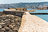 Mole at the Venetian harbor in Chania, northwest Crete, Greece