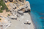 Top view of Preveli palm beach, central Crete, Greece