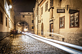 At night in the medieval streets of Krumau, Czech Republic