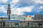 View from the harbor to the Michel in Hamburg, Germany