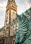 Statues in front of the town hall in Hamburg, Germany